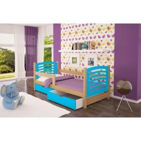 Łóżko pojedyncze, niebieskie z szufladami KMLk10nB