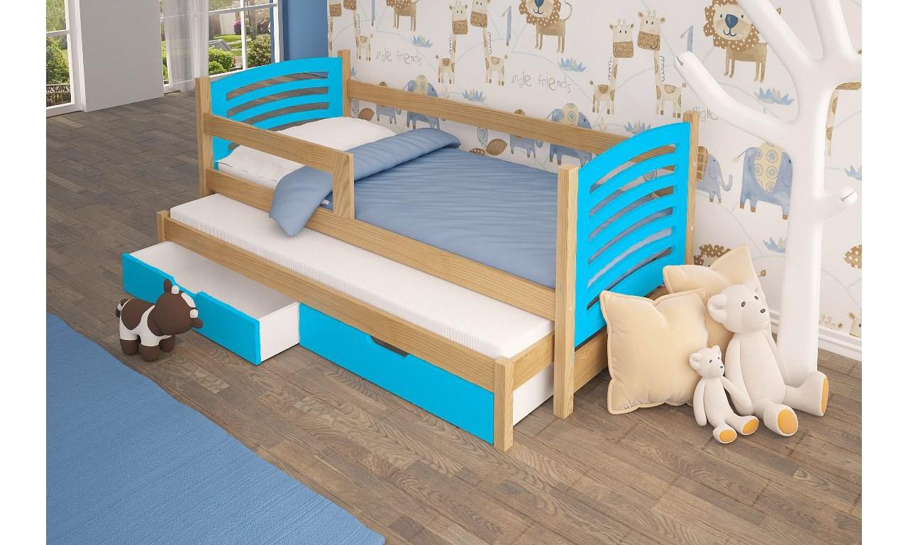 Łóżko podwójne, niebieskie z szufladami KMLk11nB
