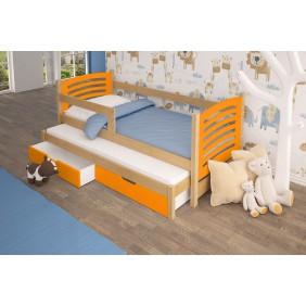 Łóżko podwójne, pomarańczowe z szufladami KMLk11pB