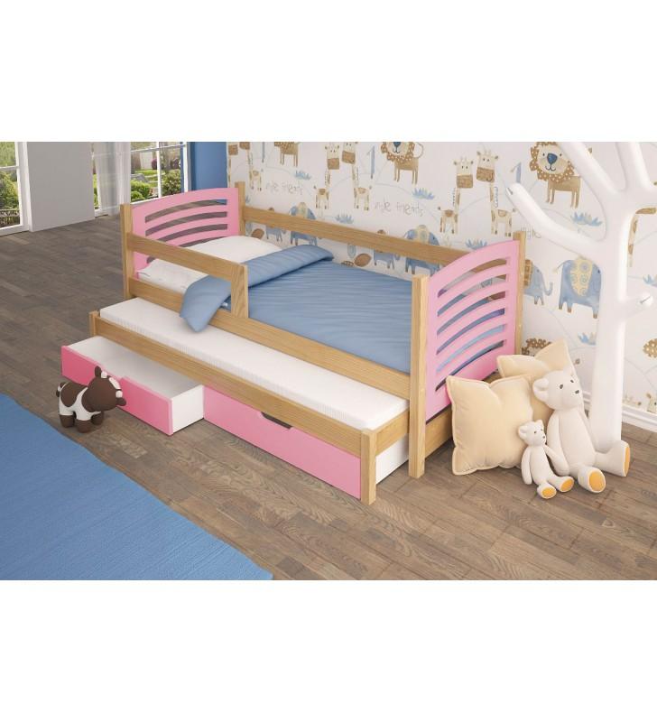 Łóżko podwójne, różowe z szufladami KMLk11rB