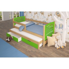 Łóżko podwójne, zielone z szufladami KMLk11zB