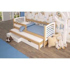 Łóżko podwójne, białe z szufladami KMLk11bB