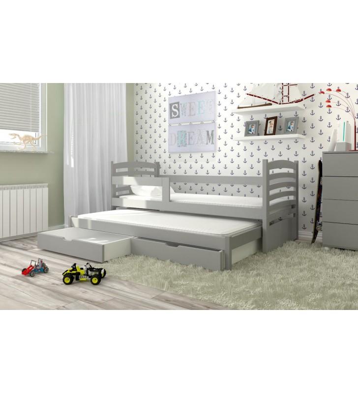 Łóżko podwójne, szare z szufladami KMLk11szB