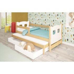 Łóżko podwójne, zielone z szufladami KMLk11bA