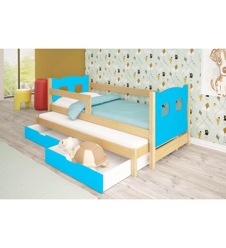 Łóżko podwójne, zielone z szufladami KMLk11nA