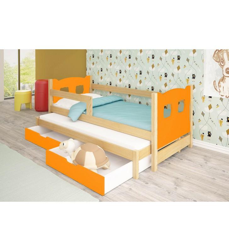 Łóżko podwójne, pomarańczowe z szufladami KMLk11pA