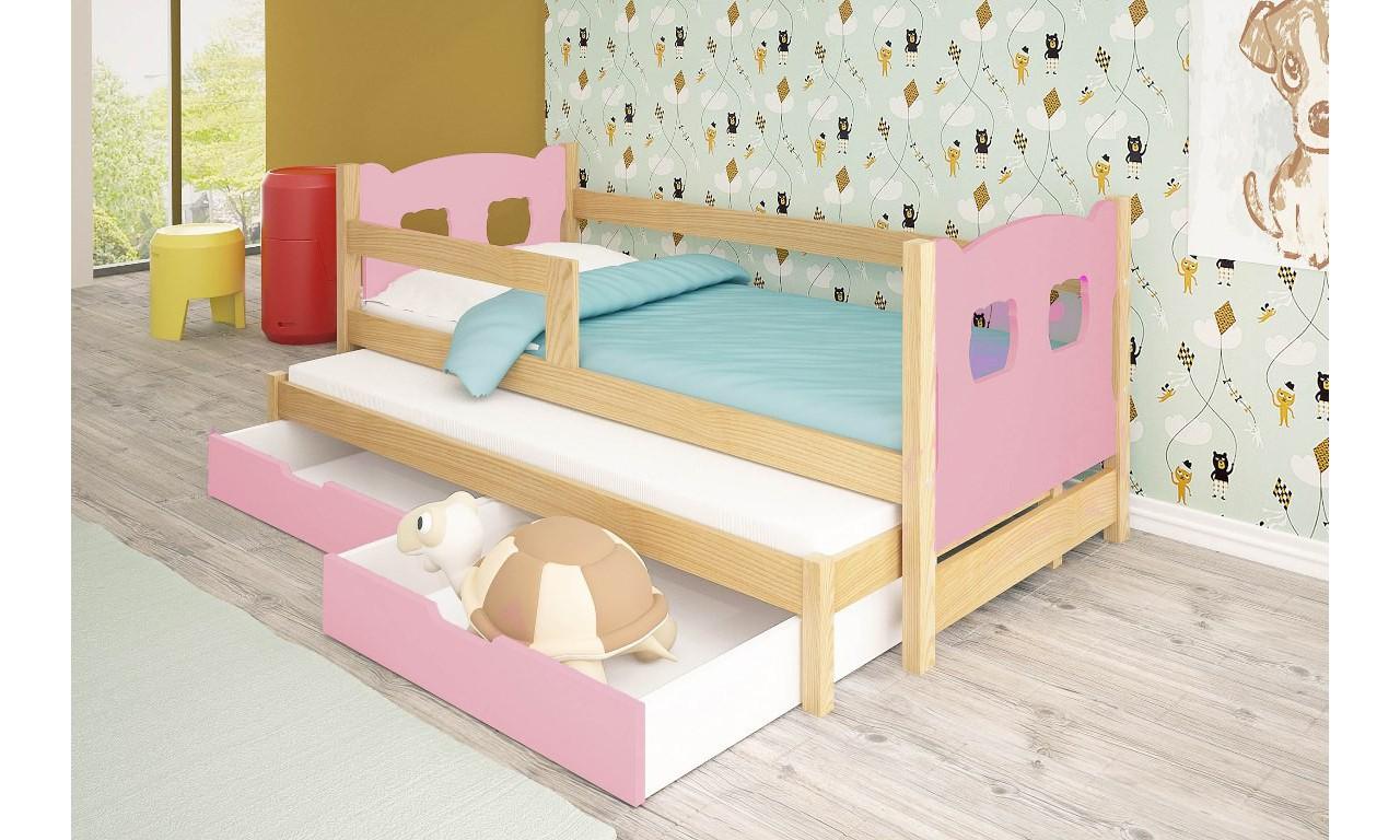 Łóżko podwójne, różowe z szufladami KMLk11rA