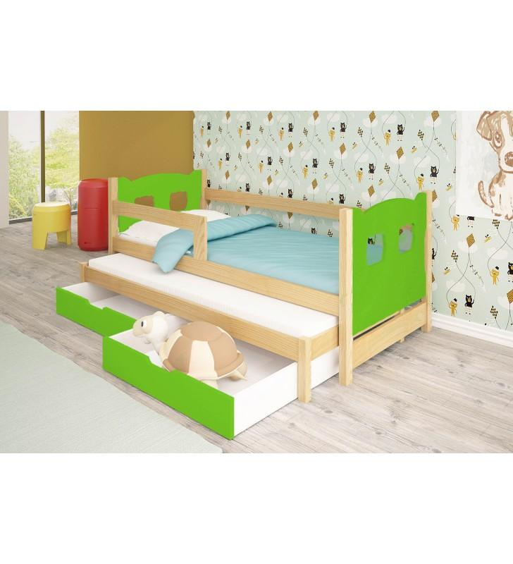 Łóżko podwójne, zielone z szufladami KMLk11zA