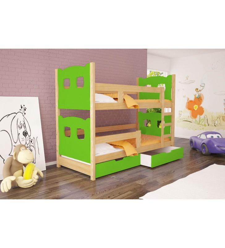 Łóżko zielone, dwuosobowe, piętrowe z szufladami KMLk12zA
