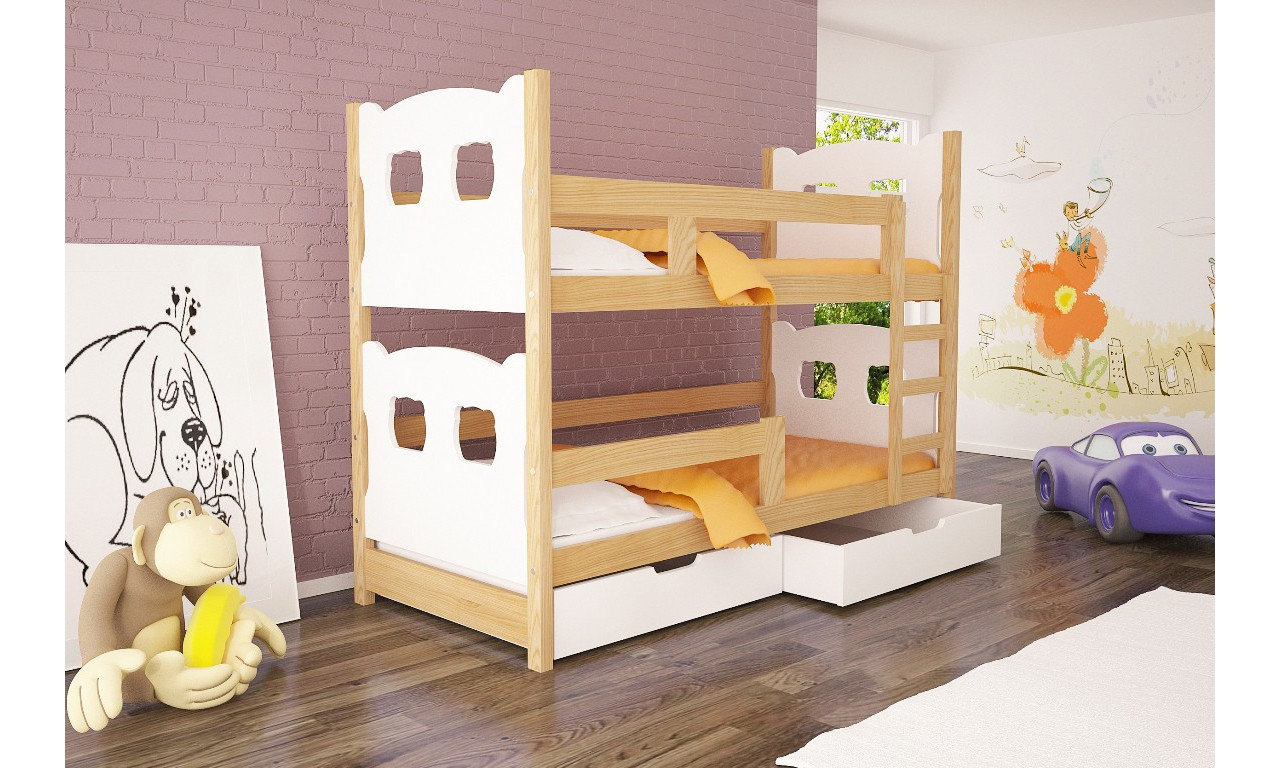 Łóżko białe, dwuosobowe, piętrowe do pokoju dziecięcego KMLk12bA
