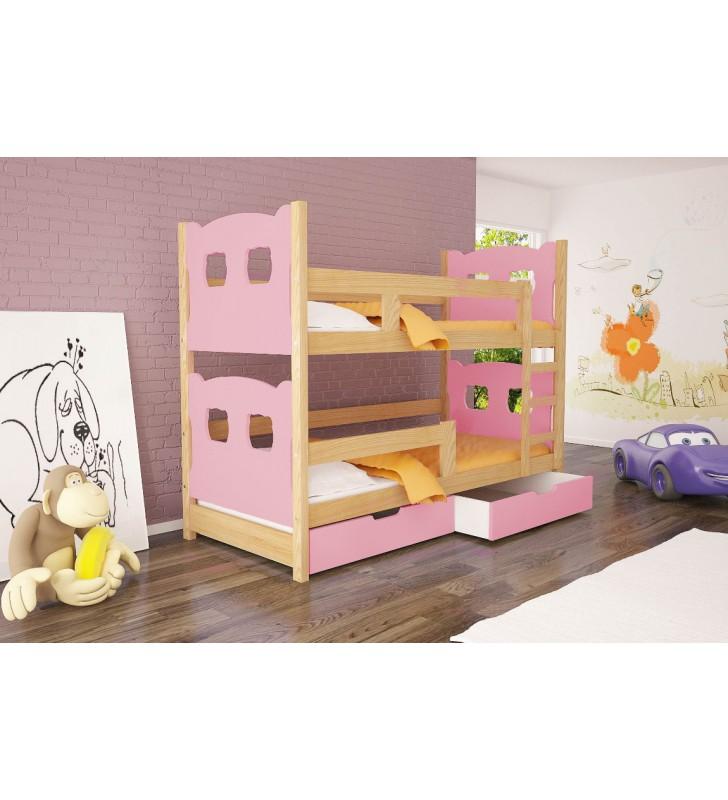 Łóżko różowe dwuosobowe, piętrowe z szufladami KMLk12rA