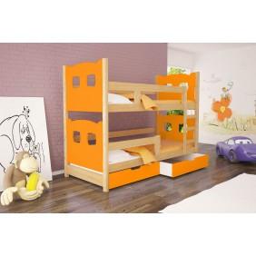 Łóżko pomarańczowe, dwuosobowe, piętrowe z szufladami KMLk12pA
