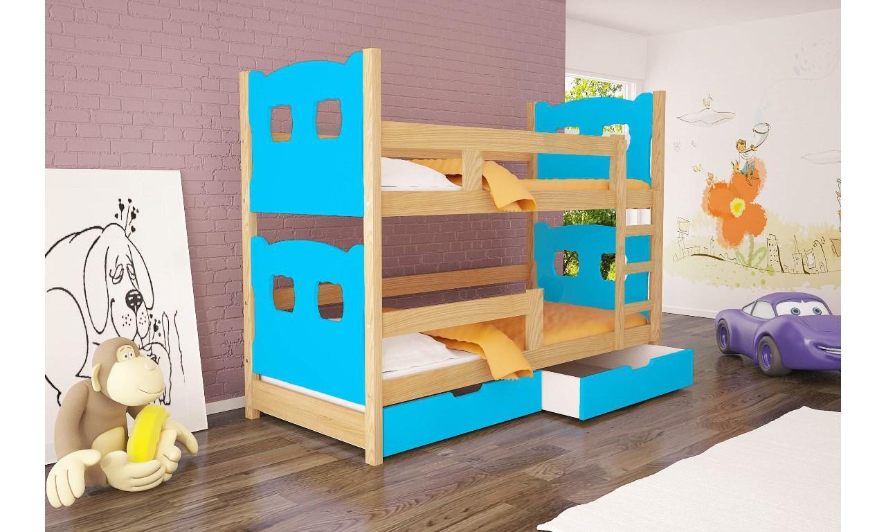 Łóżko niebieskie, dwuosobowe, piętrowe z szufladami KMLk12nA