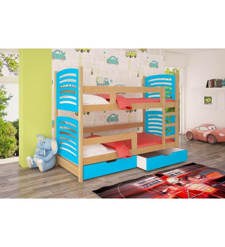 Łóżko niebieskie, dwuosobowe, piętrowe z szufladami KMLk12nB