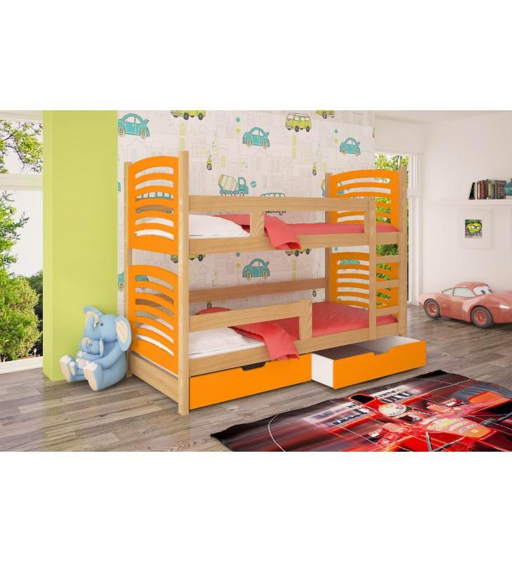 Łóżko pomarańczowe, dwuosobowe, piętrowe z szufladami KMLk12pB