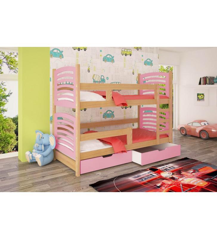 Łóżko różowe, dwuosobowe, piętrowe z szufladami KMLk12rB