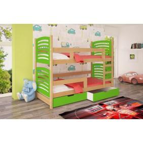 Łóżko zielone, dwuosobowe, piętrowe z szufladami KMLk12zB