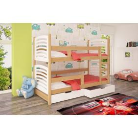 Łóżko białe, dwuosobowe, piętrowe z szufladami KMLk12bB