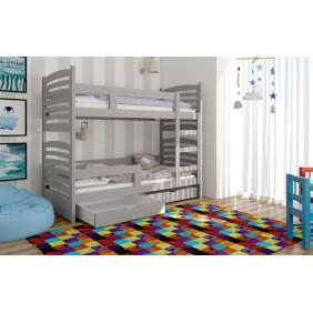 Łóżko szare, dwuosobowe, piętrowe z szufladami KMLk12szB