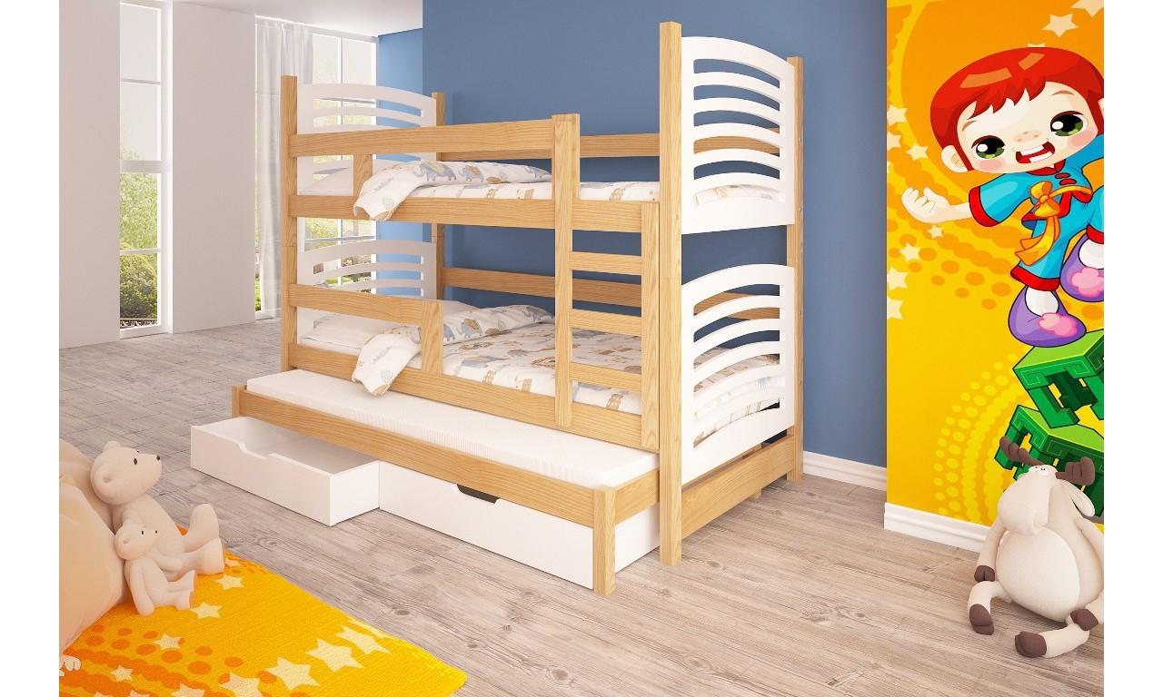 Łóżko białe, trzyosobowe, piętrowe z szufladami KMLk13bB