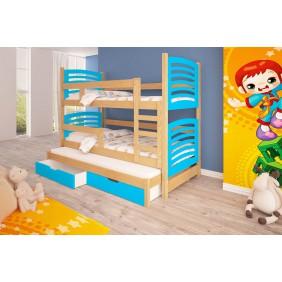Łóżko niebieskie, trzyosobowe, piętrowe z szufladami KMLk13nB