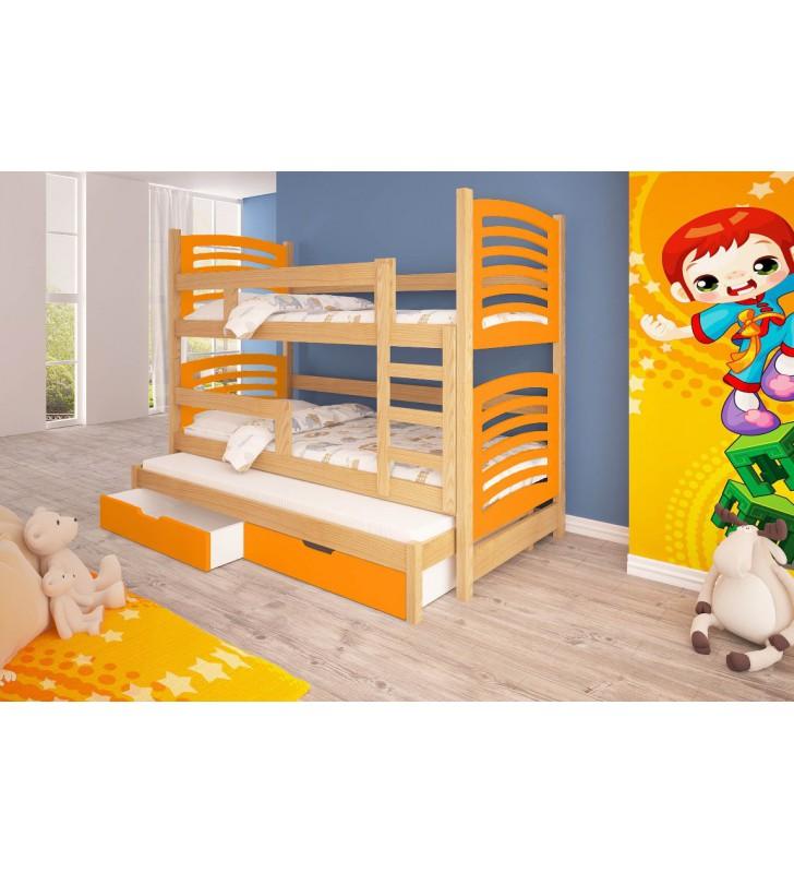 Łóżko pomarańczowe, trzyosobowe, piętrowe z szufladami KMLk13pB