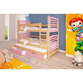 Łóżko różowe, trzyosobowe, piętrowe z szufladami  KMLk13rB