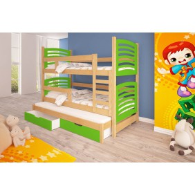 Łóżko zielone, piętrowe, trzyosobowe z szufladami KMLk13zB