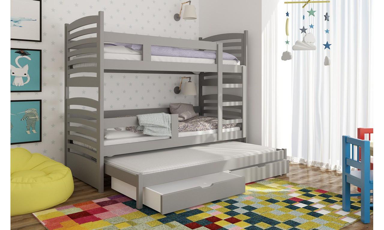 Łóżko szare, trzyosobowe, piętrowe z szufladami KMLk13szB