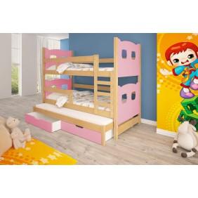Łóżko różowe, trzyosobowe, piętrowe z szufladami KMLk13rA