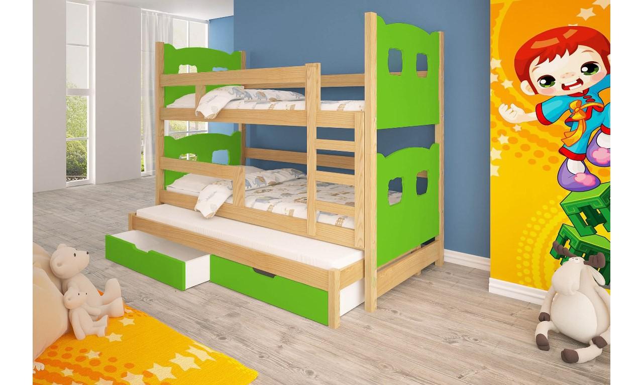 Łóżko zielone, trzyosobowe, piętrowe z szufladami KMLk13zA