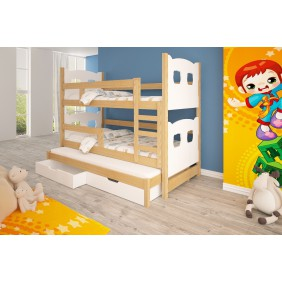 Łóżko białe, trzyosobowe, piętrowe z szufladami KMLk13bA