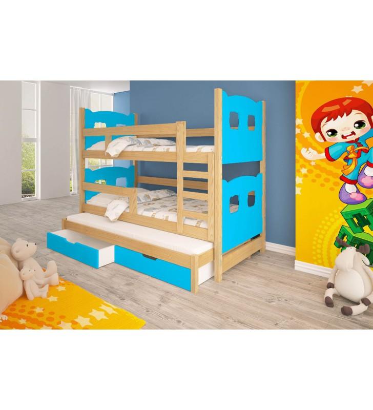 Łóżko niebieskie, trzyosobowe, piętrowe z szufladami KMLk13nA