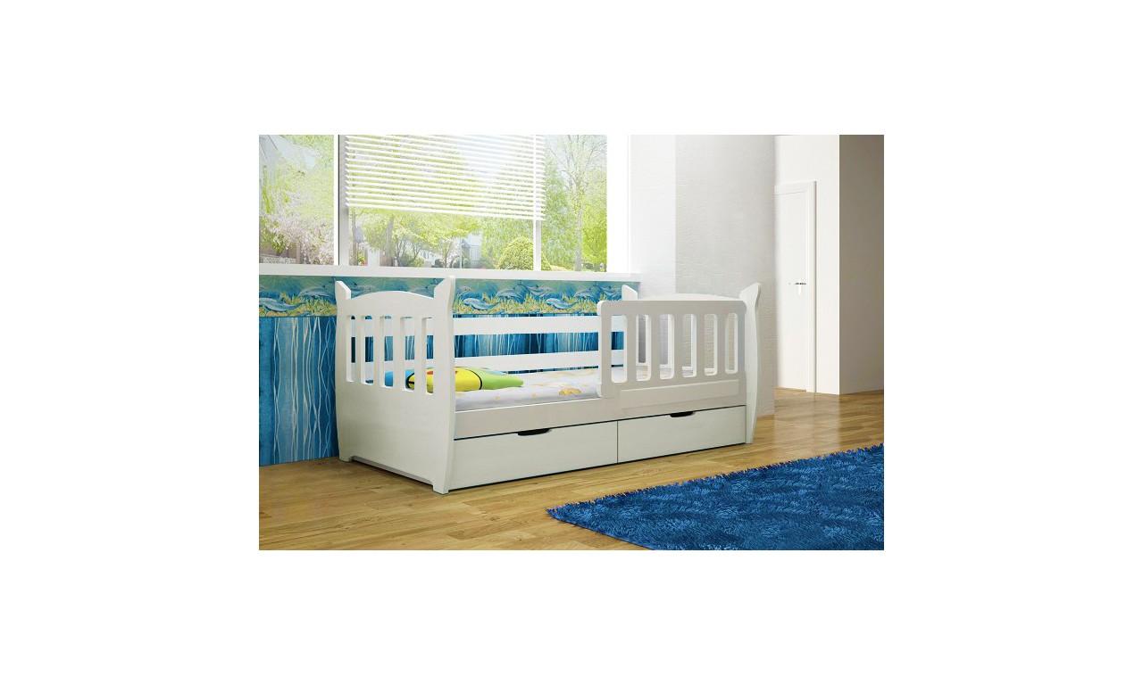 Łóżko pojedyncze białe z szufladami KMLk1m