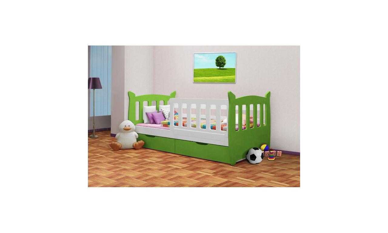 Łóżko pojedyncze zielone z szufladami KMLk1f