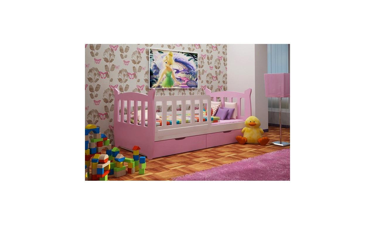 Łóżko pojedyncze różowe z szufladami KMLk1k