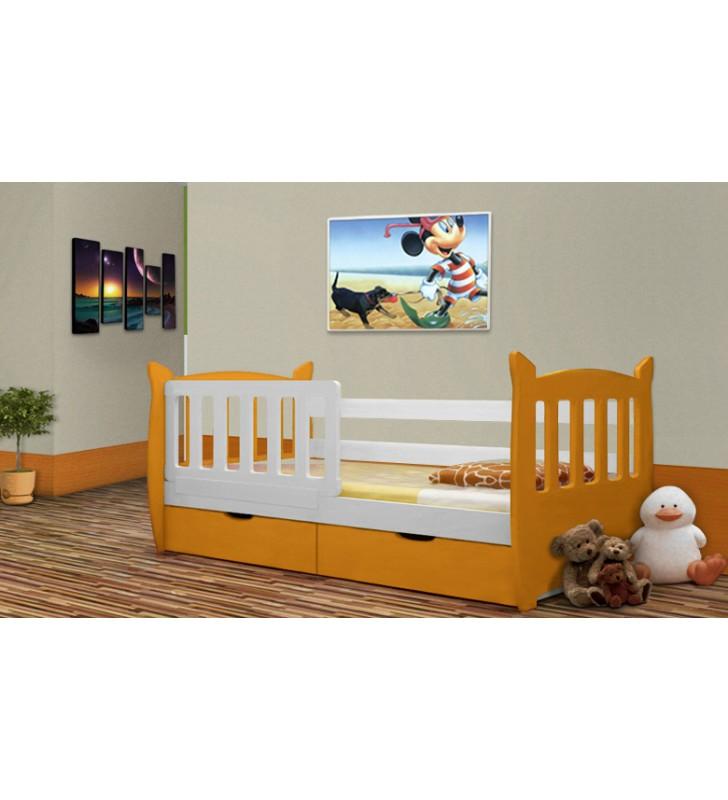 Łóżko pojedyncze pomarańczowe z szufladami KMLk1s