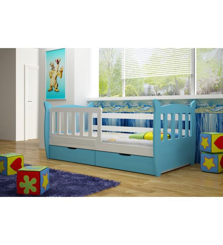 Łóżko pojedyncze niebieskie z szufladami KMLk1sm