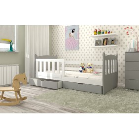 Łóżko pojedyncze szare z szufladami KMLk1sz