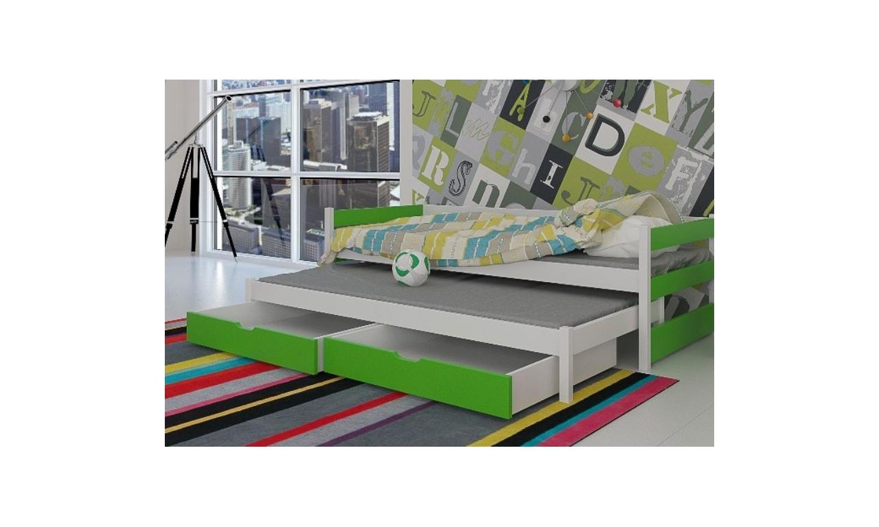 Łóżko zielone, dwuosobowe z szufladami KMLk14z