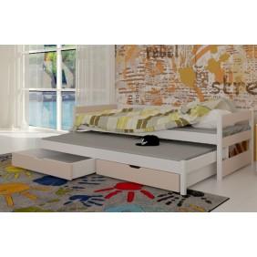 Łóżko beżowe, dwuosobowe z szufladami KMLk14be