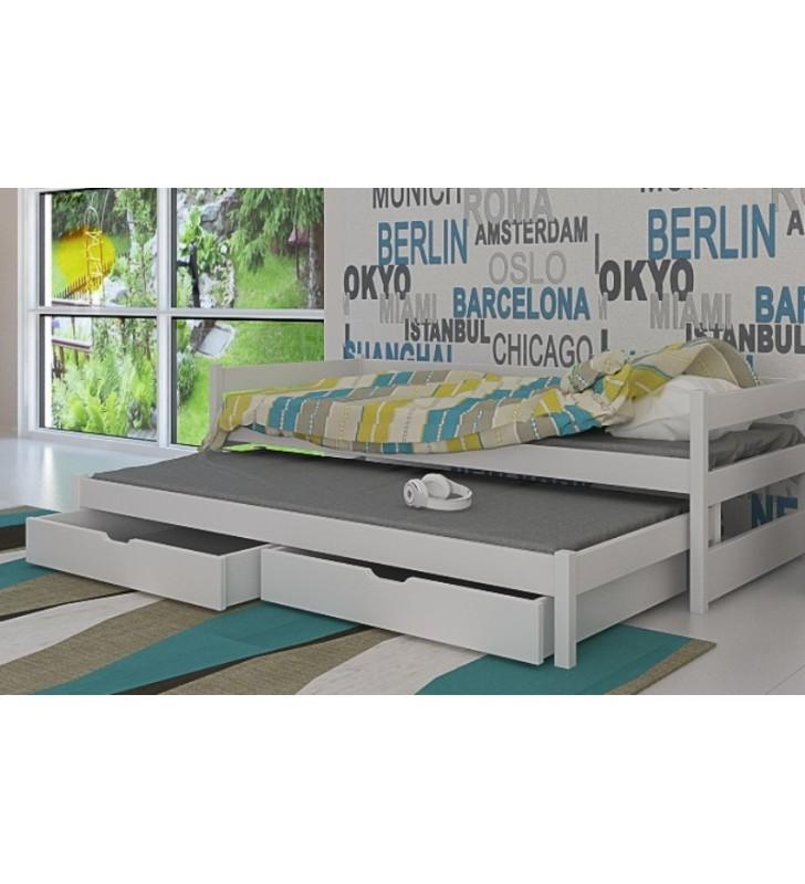 Łóżko białe, dwuosobowe z szufladami KMLk14b