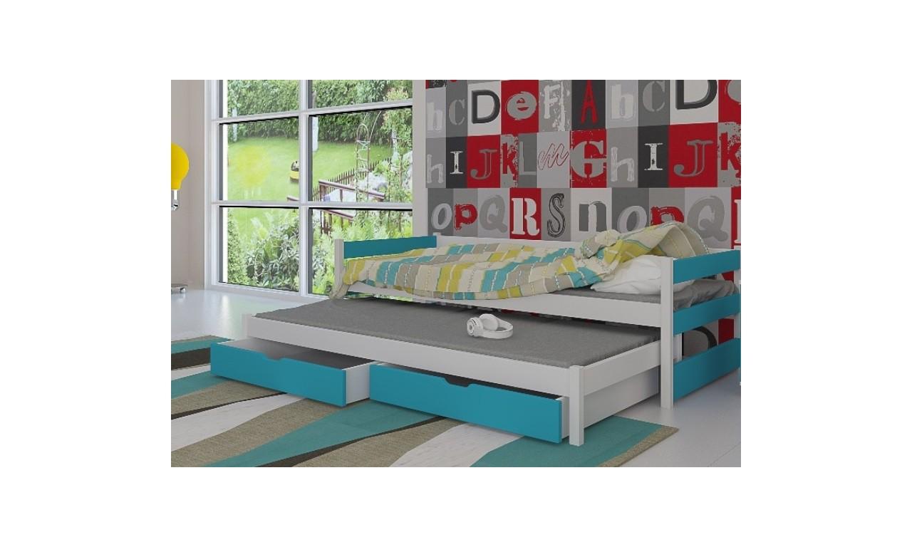 Łóżko niebieskie, dwuosobowe z szufladami KMLk14n