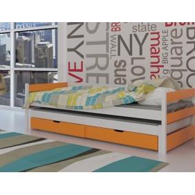 Łóżko pomarańczowe, dwuosobowe z szufladami KMLk14p