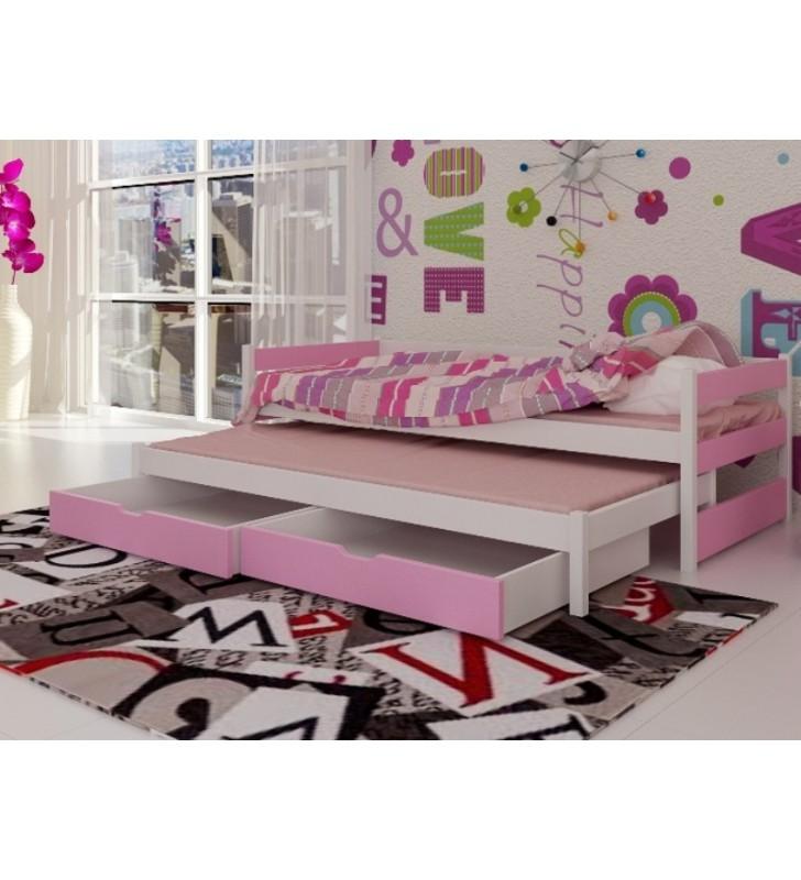 Łóżko różowe, dwuosobowe z szufladami KMLk14r