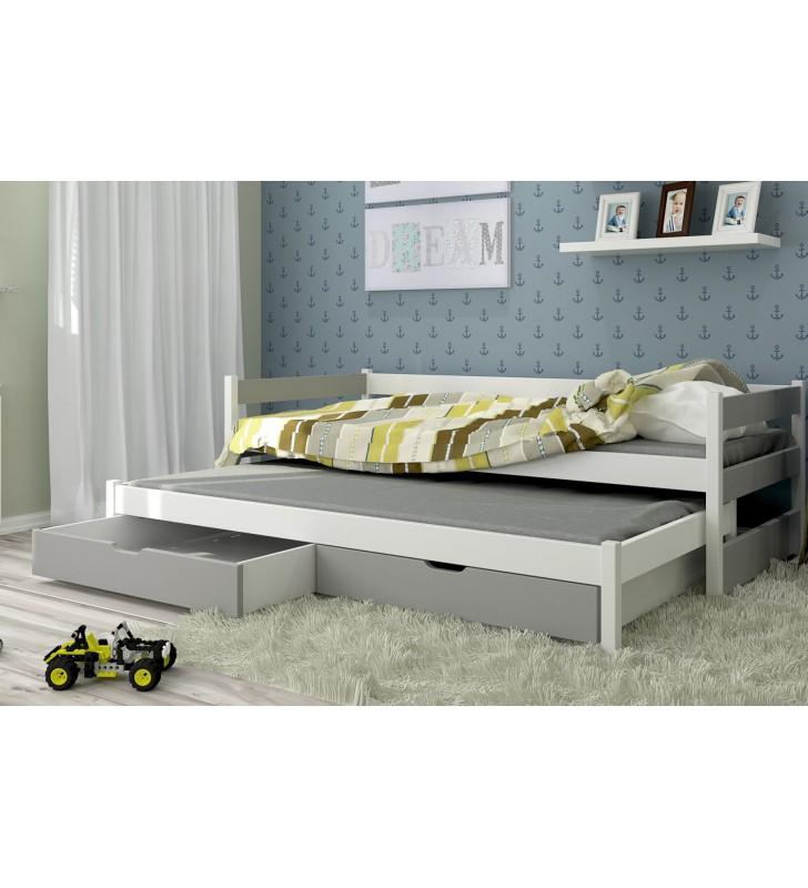 Łóżko szare, dwuosobowe z szufladami KMLk14sz