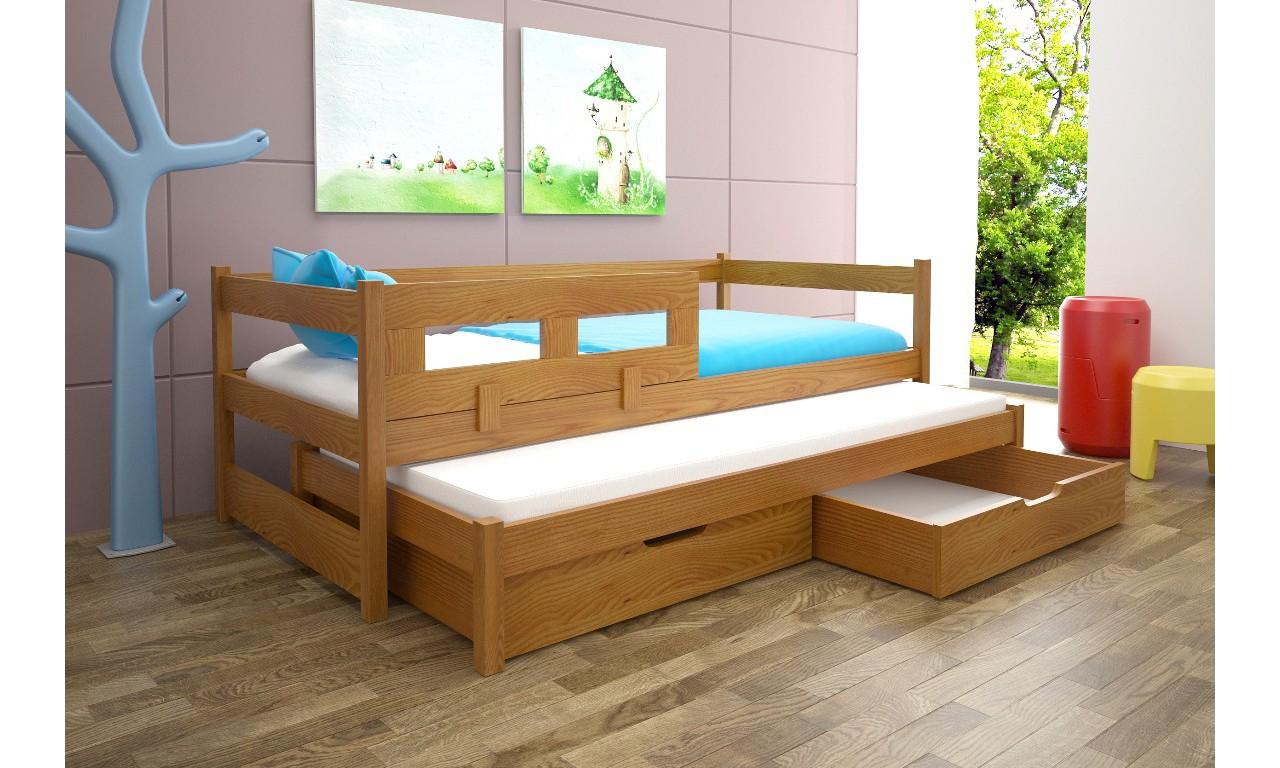Łóżko brązowe, dwuosobowe z szufladami KMLk5o