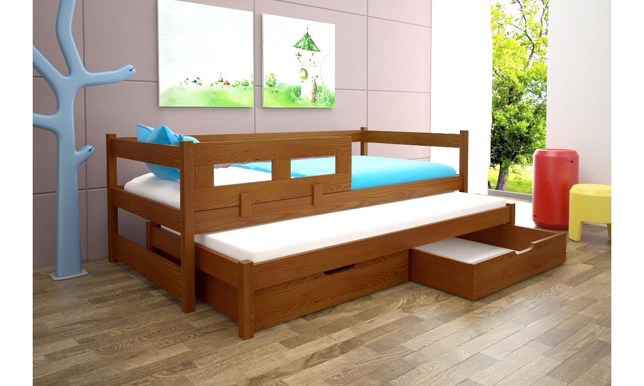Łóżko brązowe dwuosobowe z szufladami KMLk5r