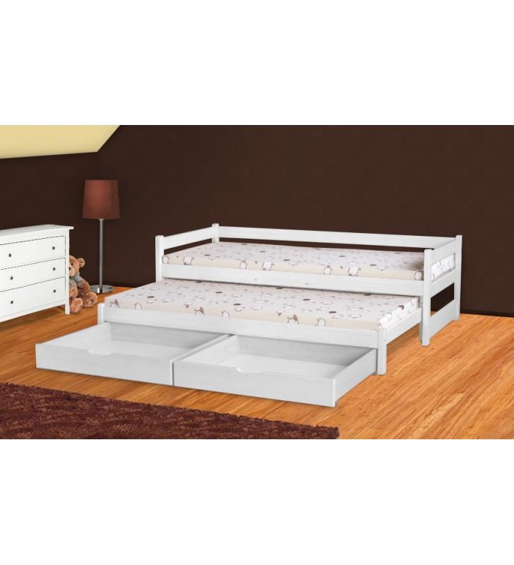Łóżko białe, dwuosobowe z szufladami KMLk5b