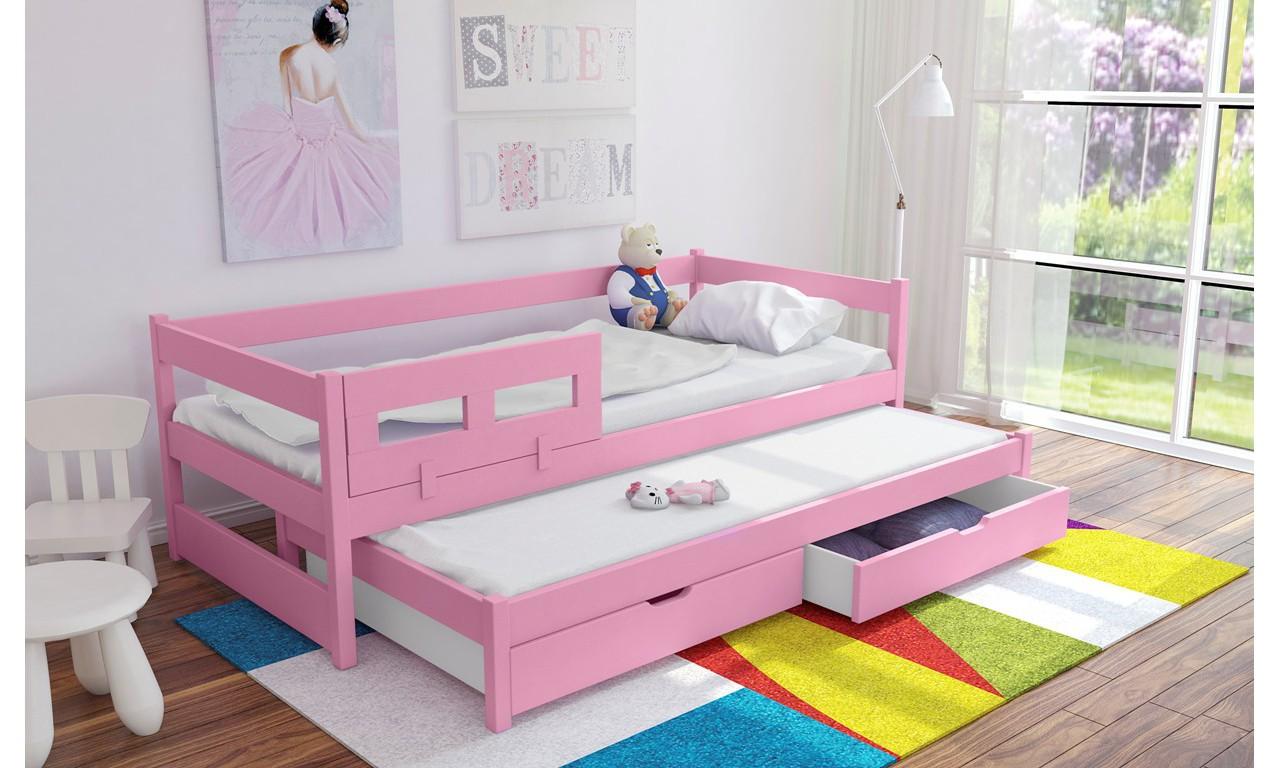 Łóżko różowe, dwuosobowe z szufladami KMLk5r